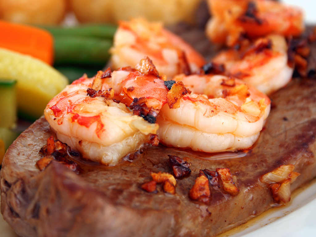 Shell Steak with Grilled Shrimp (Surf & Turf)