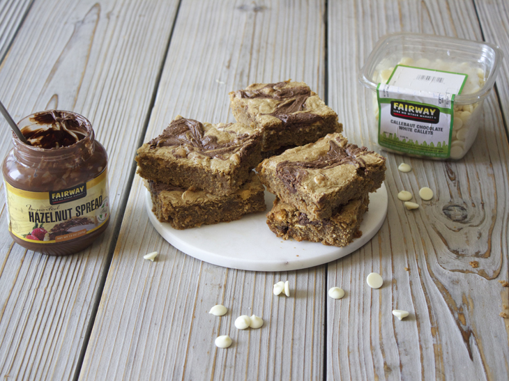 Fairway Hazelnut Spread Swirled White Chocolate Peanut Butter Blondies