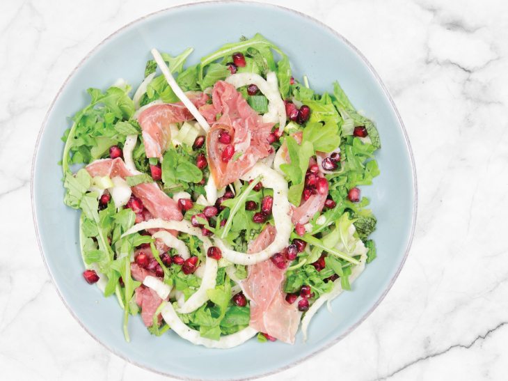 Arugula Salad with Prosciutto and Pomegranate Seeds - Fairway Market